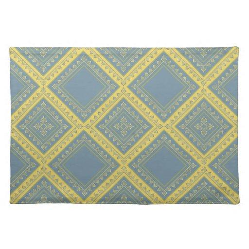 Frontera floral - azul descolorado y amarillo manteles