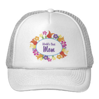 Frontera floral de la mejor mamá del mundo gorras
