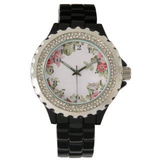 Frontera floral elegante colorida del vintage reloj de mano