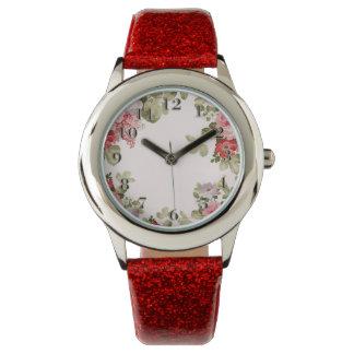 Frontera floral elegante colorida del vintage relojes