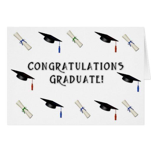 Frontera graduada del diploma del casquillo tarjeta de felicitación