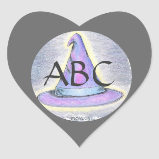 Frontera gris del monograma del gorra del mago de pegatina en forma de corazón