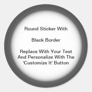 Frontera gris del negro circular de los pegatinas etiqueta redonda