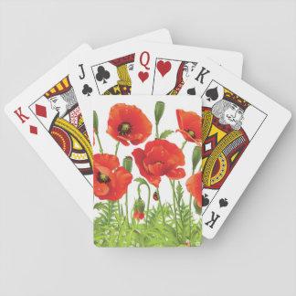 Frontera horizontal con la amapola roja baraja de póquer