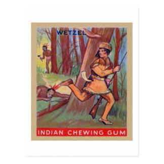 Frontera india Lewis Wetzel del chicle del vintage Tarjetas Postales