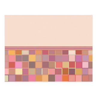 Frontera inferior de los cuadrados rosados tarjetas postales