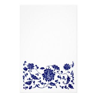 Frontera inferior floral azul papelería de diseño