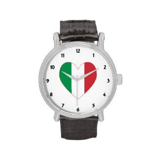 Frontera italiana del rojo de la bandera del relojes de mano