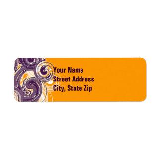 Frontera lateral púrpura rodante etiqueta de remite