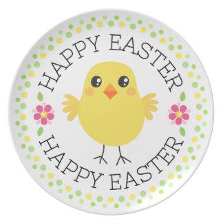 Frontera linda Pascua feliz del lunar del pollo Plato De Comida