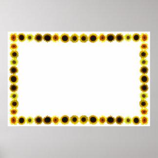 Frontera/marco del girasol sin fondo póster