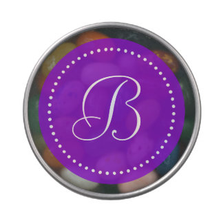 Frontera púrpura/blanca redonda con monograma del frascos de dulces