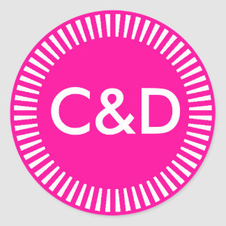 Frontera radiante de dos iniciales de encargo, pegatina redonda