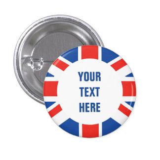 Frontera redonda de la bandera británica con el te pin redondo de 1 pulgada