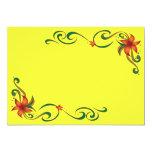 Frontera roja/amarilla de la flor invitación 12,7 x 17,8 cm