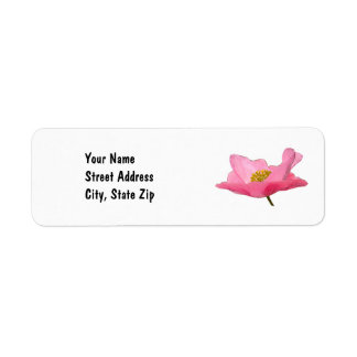 Frontera rosada de la amapola etiqueta de remite