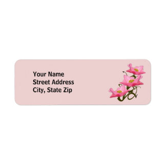 Frontera rosada de tres amapolas etiqueta de remite