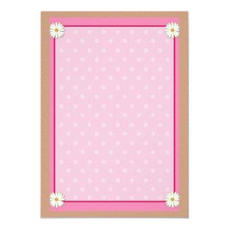 """Frontera rosada en la textura de acrílico invitación 5"""" x 7"""""""