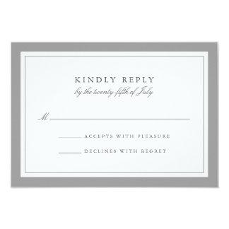 """Frontera simple gris y blanca que casa la tarjeta invitación 3.5"""" x 5"""""""
