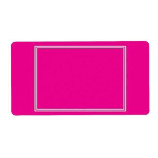 Frontera sombreada blanca doble en rosa púrpura etiqueta de envío