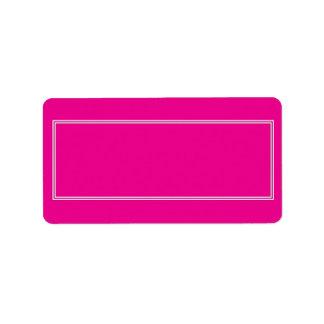 Frontera sombreada blanca doble en rosa púrpura etiquetas de dirección