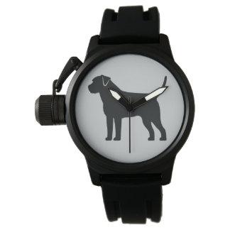 Frontera Terrier en silueta Reloj De Mano