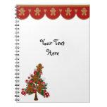 Frontera y árbol de navidad del pan de jengibre libro de apuntes con espiral