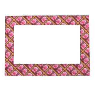 Fronteras color de rosa de la flor marcos magnéticos de fotos