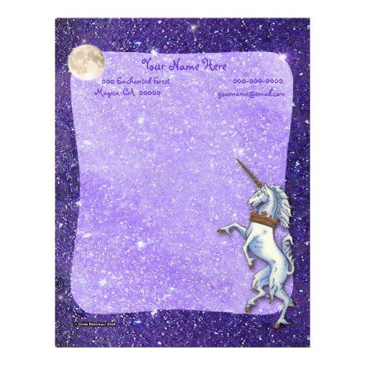 Fronteras de la púrpura de la Luna Llena del Membrete Personalizado