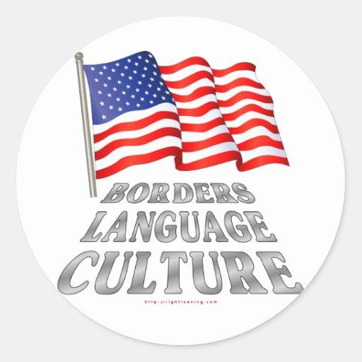 Fronteras, lengua, cultura etiqueta redonda