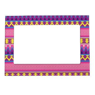 Fronteras tribales aztecas rosadas y púrpuras foto de imanes