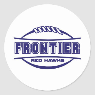 Frontier Red Hawks Logo final 1 color Navy Classic Round Sticker