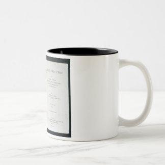 """Frontispiece a """"a través del continente oscuro"""", taza de café de dos colores"""