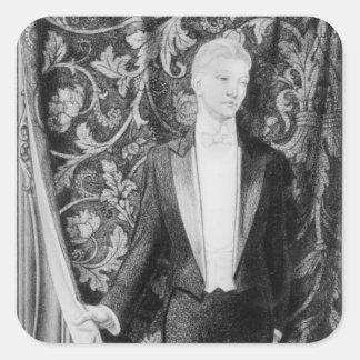 Frontispiece 'a la imagen de Dorian Gray Pegatina Cuadrada