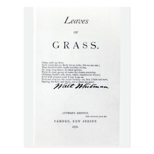 Frontispiece a las 'hojas de las hierbas tarjeta postal