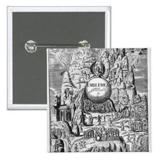 """Frontispiece a los """"emblemas"""" de George Wither, 16 Pin Cuadrada 5 Cm"""