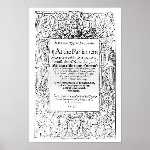 Frontispiece a una cuenta del parlamento póster