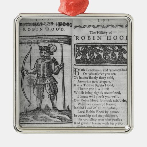 Frontispiece and opening lines square metal christmas ornament