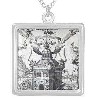 Frontispiece 'Collegium Fama Fraternitatis' Square Pendant Necklace