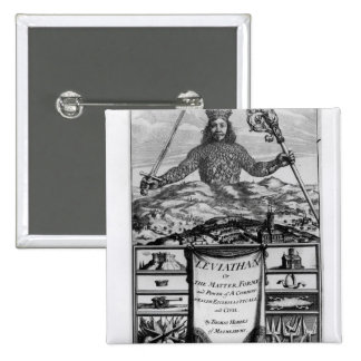 Frontispiece de Thomas Hobbes de Malmesbury Pin Cuadrada 5 Cm