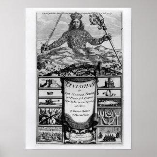 Frontispiece de Thomas Hobbes de Malmesbury Póster