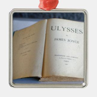 """Frontispiece de """"Ulises"""" por James Joyce Adorno Navideño Cuadrado De Metal"""