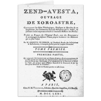 Frontispiece de una edición de Zend Felicitaciones