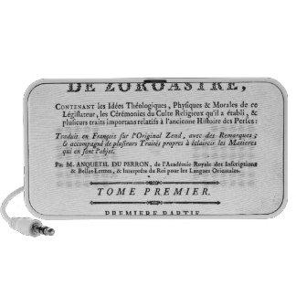 Frontispiece de una edición de Zend Mini Altavoz
