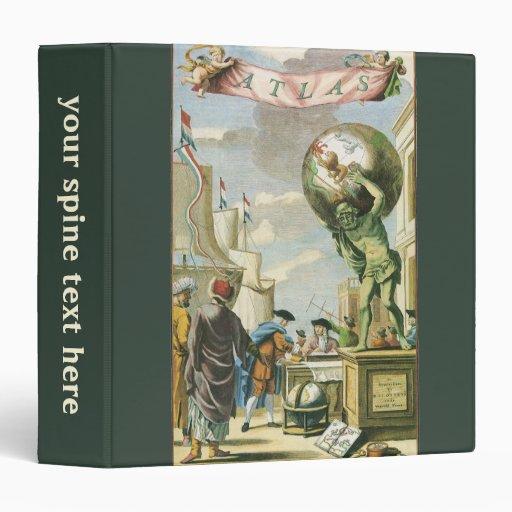 Frontispiece del atlas del vintage, globo del carpeta 3,8 cm