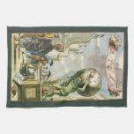 Frontispiece del atlas del vintage, globo del mund toalla