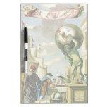 Frontispiece del atlas del vintage, globo del mund pizarra blanca