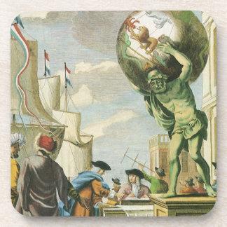 Frontispiece del atlas del vintage, globo del posavasos