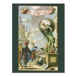 Frontispiece del atlas del vintage, globo del postal