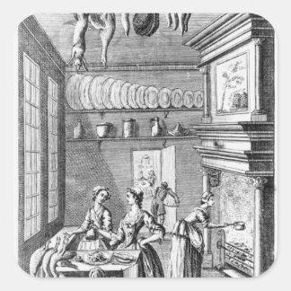 Frontispiece 'del Compleat Housewife Pegatina Cuadrada